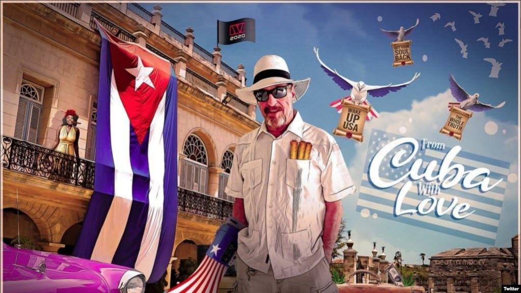 """El pasquín electoral de John McAfee desde su """"exilio"""" en La Habana, según aparece en su cuenta de Twitter."""
