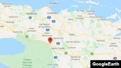 El localizador rojo de Google Maps indica el poblado de Torriente, en la provincia de Matanzas.