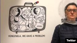 """Rayma en su exhibición """"Yo inmigrante"""", en la ciudad de Houston."""