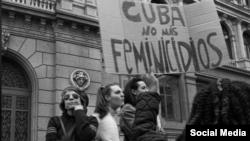 Protesta por violencia de género en Cuba.