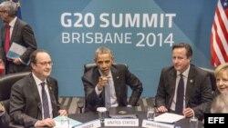 El presidente Obama con sus colegas durante la reunión del TTIP en Australia, paralelo a Cumbre G20.