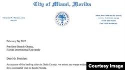 Carta de alcaldes del sur de la Florida al presidente Obama, página 1.