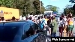 Protesta por desalojo en Marianao. (Captura de video/YouTube)