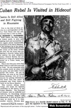 Fidel Castro con fusil de mira telescópica en el New York Times.