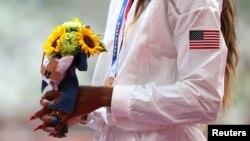 El bouquet del la Victoria en los Olímpicos de Tokio. REUTERS/Lindsey Wasson