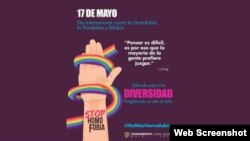 Cartel conmemorativo del 16 aniversario del Día Internacional contra la Homofobia, la Transfobia y la Biofobia