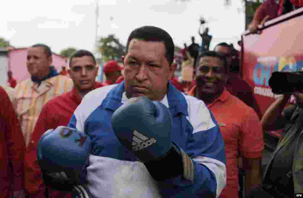 Fotografía cedida por el Palacio de Miraflores hoy, lunes 24 de septiembre de 2012, del presidente venezolano, Hugo Chávez, durante una caravana electoral en la ciudad de Acarigua, Estado Portuguesa (Venezuela).