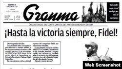 Portada del diario Granma. nov.26, 2016