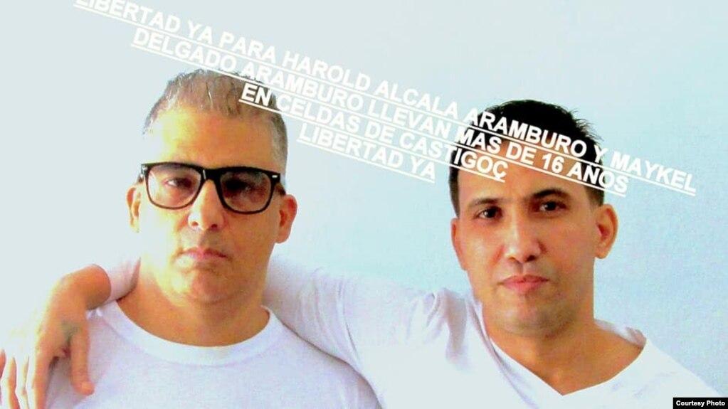Los primos Maykel Delgado Aramburo (izq) y Harold Alcalá Aramburo (der) están cumpliendo una condena de cadena perpetua en Cuba por un hecho que no dejó heridos o muertos. (Foto de Facebook de Estrella Aramburo).