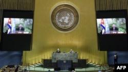 Miguel Díaz-Canel en video conferencia ante la 75 Asamblea General de Naciones Unidas. Manuel ELIAS / UNITED NATIONS / AFP