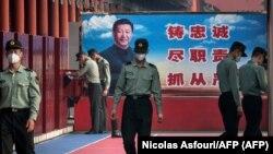 Soldados chinos en la Ciudad Prohibida, el 21 de mayo de 2020