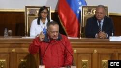 Diosdado Cabello durante una sesión de la Asamblea Nacional Constituyente (ANC) de Venezuela, compuesta solo por oficialistas.