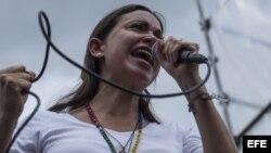 La exdiputada y dirigente opositora Maria Corina Machado .