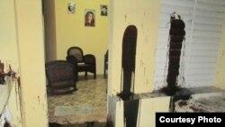 Exterior de la vivienda de los activistas Niursi Acosta y Raúl González Manso