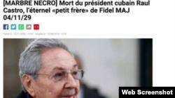 El obituario de Raúl Castro publicado por error en Radio Francia Internacional.
