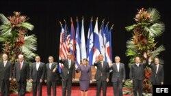 Archivo 2013.- Cumbre del Sistema de la Integración Centroamericana (SICA), a la que asistió el mandatario estadounidense, Barack Obama (c-i).