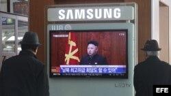 El líder norcoreano Kim Jong-un durante su discurso de Año Nuevo emitido por la televisión estatal KCTV.