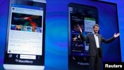 El presidente de Research in Motion (RIM) Thorsten Heins en el lanzamiento del nuevo Blackberry 10.