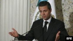 Presidente de México, Enrique Peña Nieto, durante la rueda de prensa ofrecida en Roma