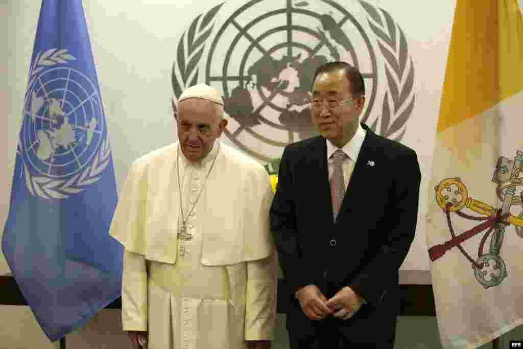 El Papa Francisco visita la ONU en New York.