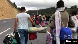 Migrantes venezolanos en Ecuador.