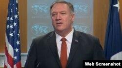 El Secretario de Estado Mike Pompeo al anunciar sanciones contra una compañía estatal cubana.