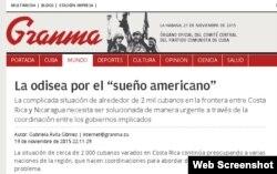 Artículo publicado en Granma sobre la crisis migratoria de los cubanos en Centroamérica
