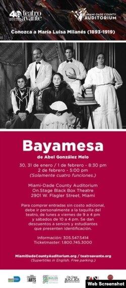 Imagen del cartel promocional de la obra Bayamesa por Teatro Avante