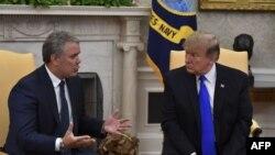 El presidente Donald Trump recibe a su homólogo colombiano, Iván Duque, en la Casa Blanca.