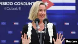 La jefa de la diplomacia de la Unión Europea, Federica Mogherini, en el segundo encuentro bilateral UE-Cuba en La Habana. (REUTERS/Alexandre Meneghini)