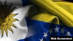 Banderas de Uruguay y Venezuela.