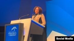 La abogada Laritza Diversent en la cumbre de UNWatch. Tomado de @GenevaSummit