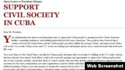 Solicitud para que el presidente Obama apoye la sociedad civil independiente en Cuba (Detlle).