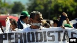 Periodistas ecuatorianos en protesta