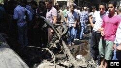 Imagen cedida por la Agencia Árabe de Noticias en Siria (SANA) del lugar donde ha tenido lugar una explosión en el suburbio de Jaramana, Damasco, Siria hoy, lunes 3 de septiembre. EFE/SANA