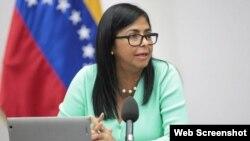 Delcy Rodríguez, vicepresidenta del régimen de Nicolás Maduro (Archivo).