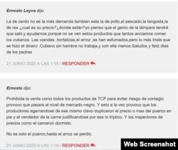 Algunos de los comentarios críticos dejados por los usuarios en el portal oficialista.