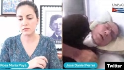 Rosa María Payá conversa con José Daniel Ferrer sobre posible suspensión de la huelga de hambre. (Captura de video/Twitter)