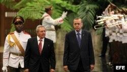 Raúl Castro (i) junto al presidente de Turquía, Recep Tayyio Erdogan.