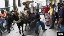 Cocheros en Cuba.