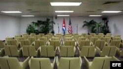 Sala del Palacio de Convenciones de La Habana donde se reunieron en enero las delegaciones de EEUU y Cuba encabezadas por Roberta Jacobson y Josefina Vidal, respectivamente.