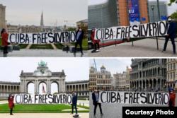 Activista cubanoamericano residente en Bélgica Léo Juvier-Hendrickx posa con un cartel exigiendo libertad de Silverio Portal. Foto cortesía