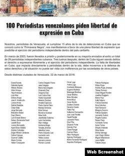 Manifiesto publicado por cien periodistas venezolanos en favor de la libertad de expresión en Cuba, a raíz del XV aniversario de la tristemente célebre Primavera Negra de 2003.