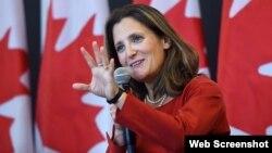 Ministra de Relaciones Exteriores de Canadá, Chrystia Freeland.