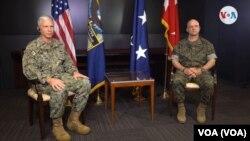 Almirante Craig Faller, jefe del Comando Sur y general David Bellon, jefe del Componente de Marina