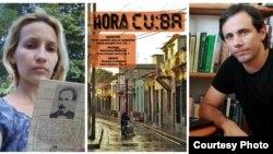 Sol García Basulto Y Henry Constantín Ferreiro, junto a la portada del último número de La Hora de Cuba.