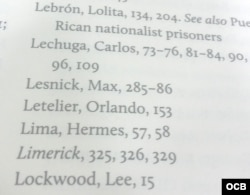 "Referencia a Max Lesnik en el índice de ""Back Channel to Cuba"""