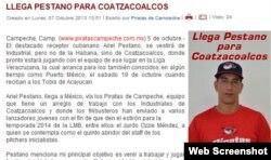 Los Piratas de Campeche reportaron en su web que Ariel Pestano jugará con su filial Industriales de Coatzalcoalcos