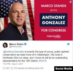 Marco Rubio apoyó a Anthony González.