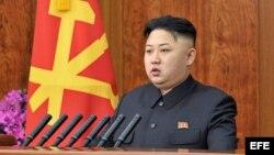 Líder norcoreano Kim Jong-un durante un discurso pronunciado en Pyongyang, Corea del Norte.